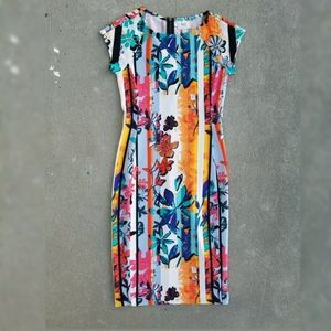 ECI New York Floral Cap Sleeve Sheath Dress